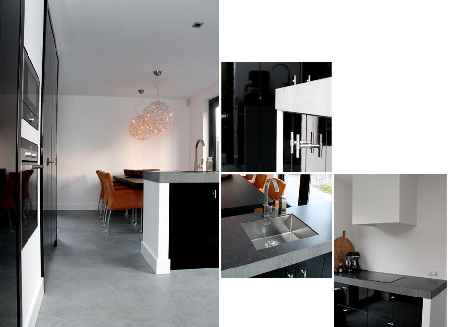 Keuken Zwart Blad: Wit hoogglans frontpanelen gemonteerd een dik ...